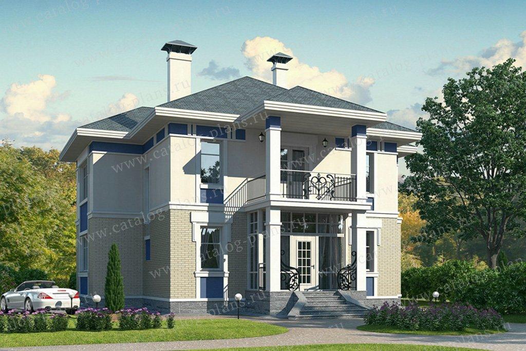 Проект жилой дом #49-23 материал - кирпич, стиль американский
