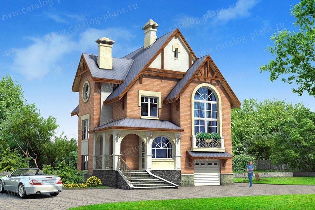 Проект жилой дом #49-21 материал - кирпич, стиль европейский