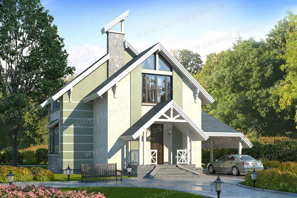 Проект жилой дом #49-16 материал - кирпич, стиль современный