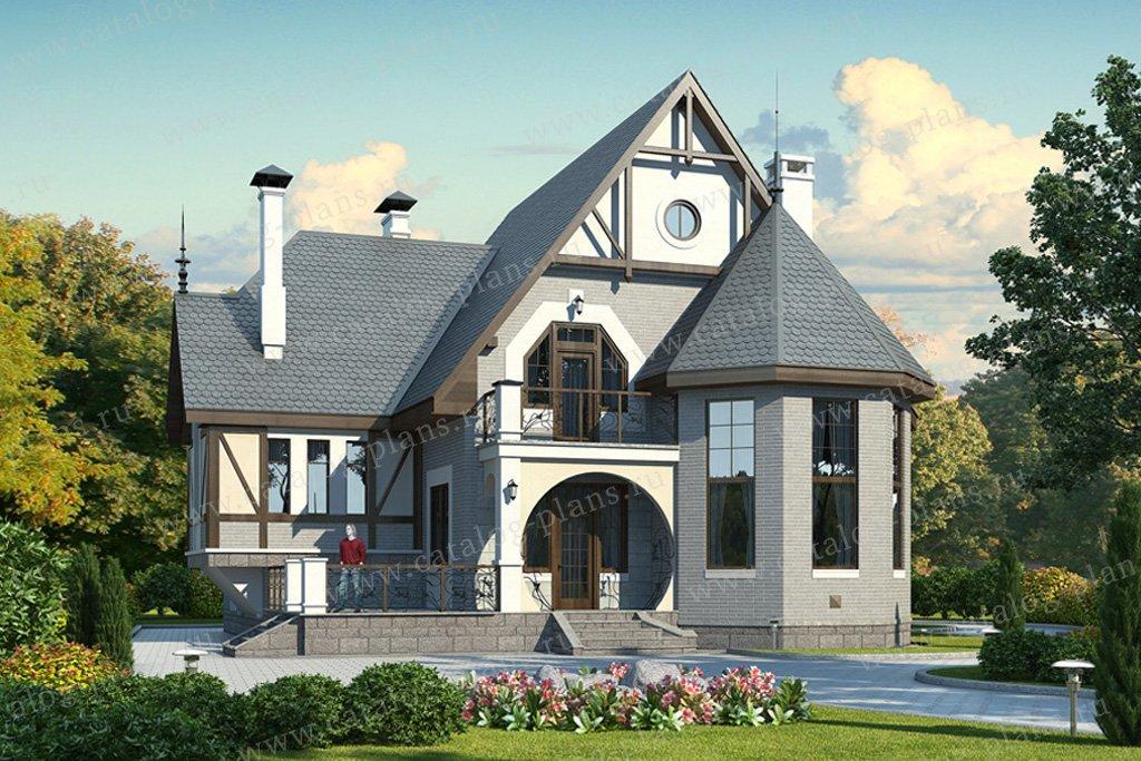 Проект жилой дом #49-15 материал - кирпич, стиль модерн