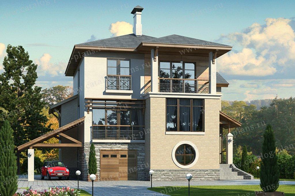 Проект жилой дом #49-22 материал - кирпич, стиль современный