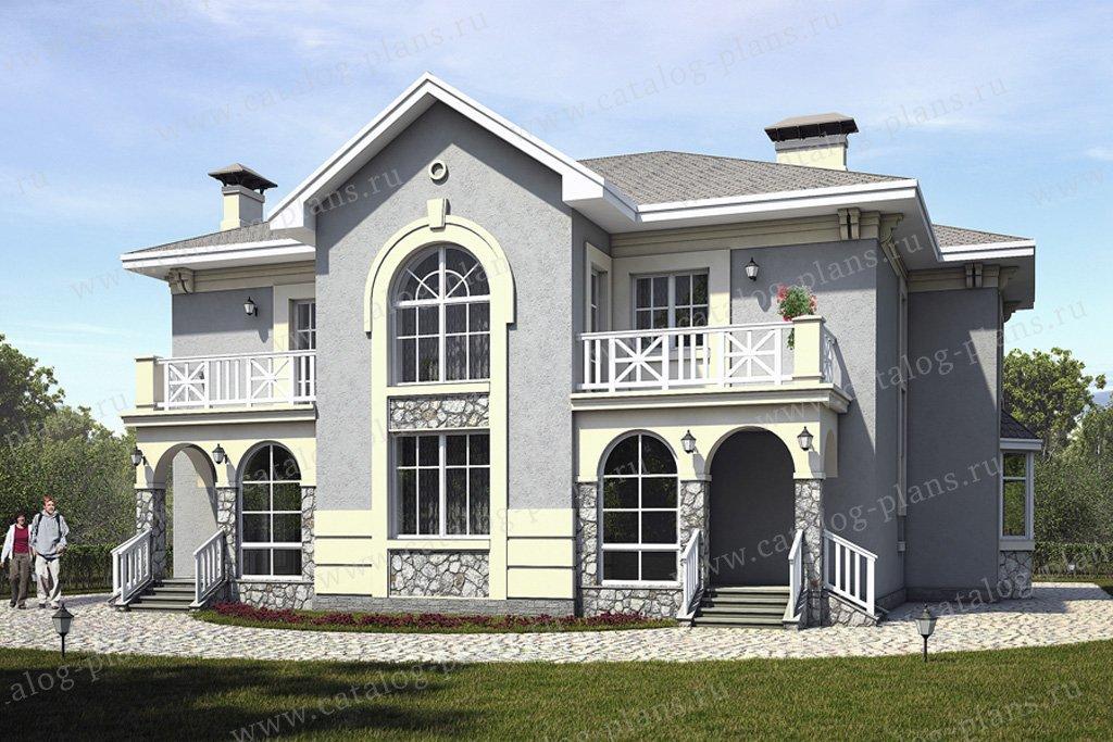 Проект жилой дом #49-28 материал - кирпич, стиль средиземный