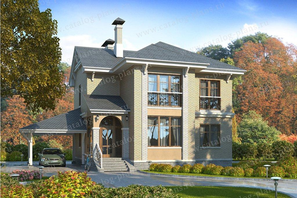 Проект жилой дом #49-12 материал - кирпич, стиль современный