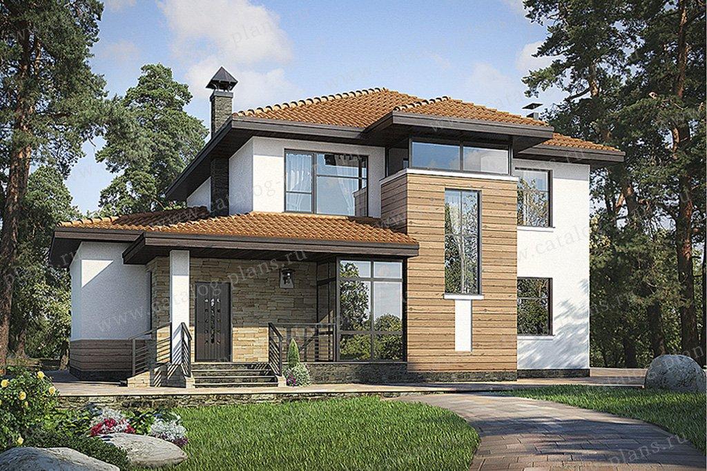 Проект жилой дом #49-34 материал - кирпич, стиль современный