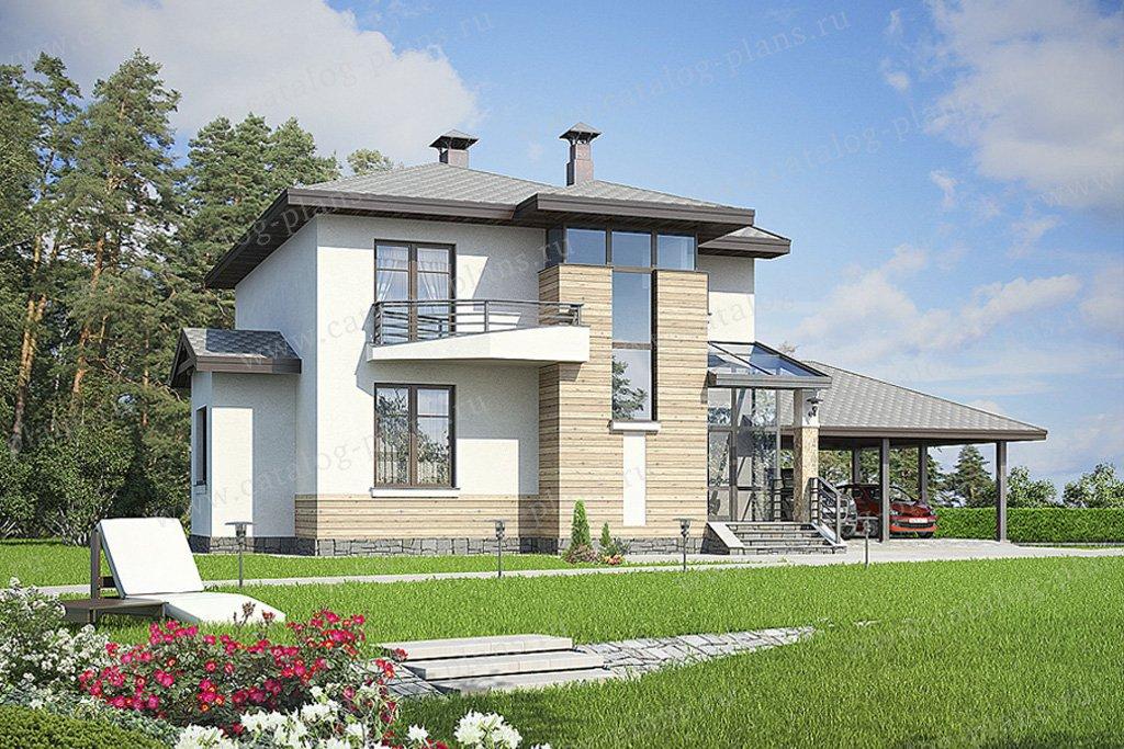 Проект жилой дом #49-32 материал - кирпич, стиль современный
