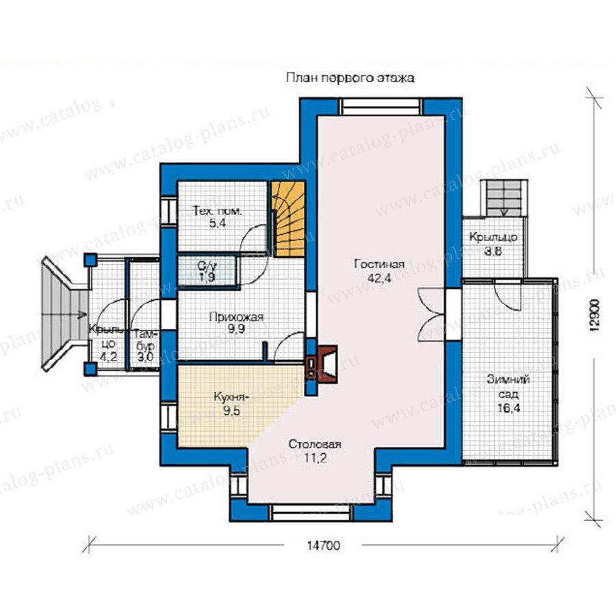 План 1-этажа проекта 49-23