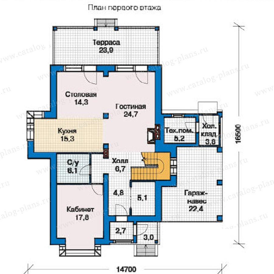 План 1-этажа проекта 49-43