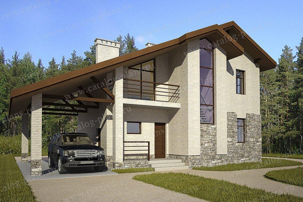 Проект двухэтажного кирпичного дома с односкатной крышей 49-.