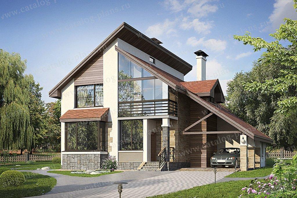 Проект жилой дом #49-43 материал - кирпич, стиль современный
