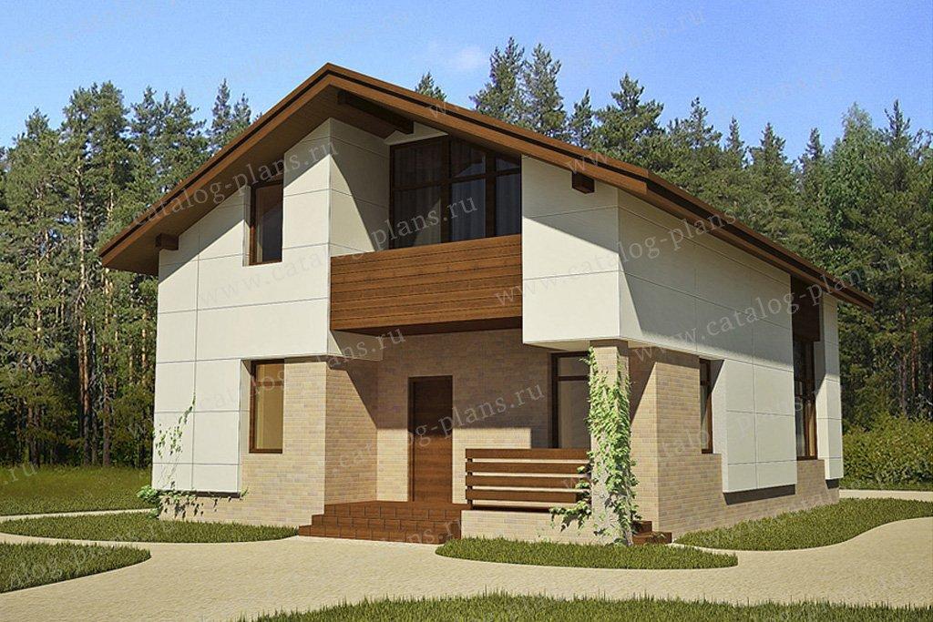 Проект жилой дом #49-71 материал - кирпич, стиль хай-тек