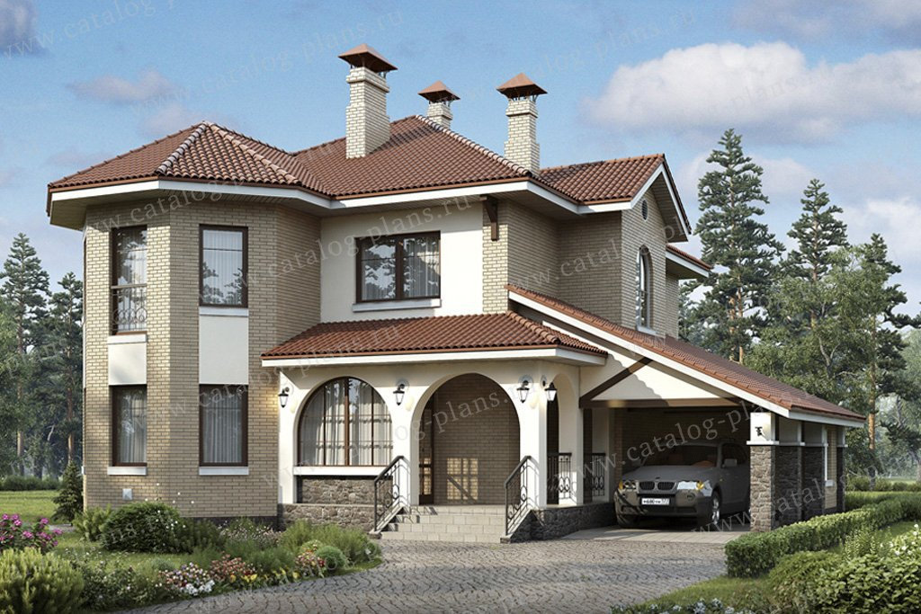Проект жилой дом #49-41 материал - кирпич, стиль европейский