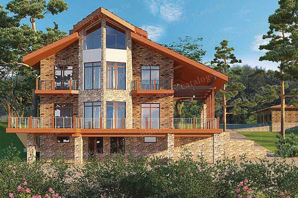 Проект жилой дом #49-75 материал - кирпич, стиль современный