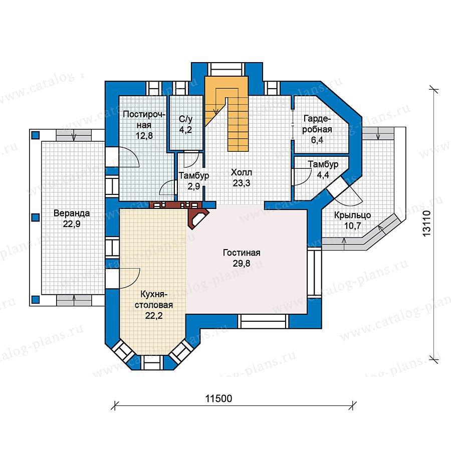 План 1-этажа проекта 49-72