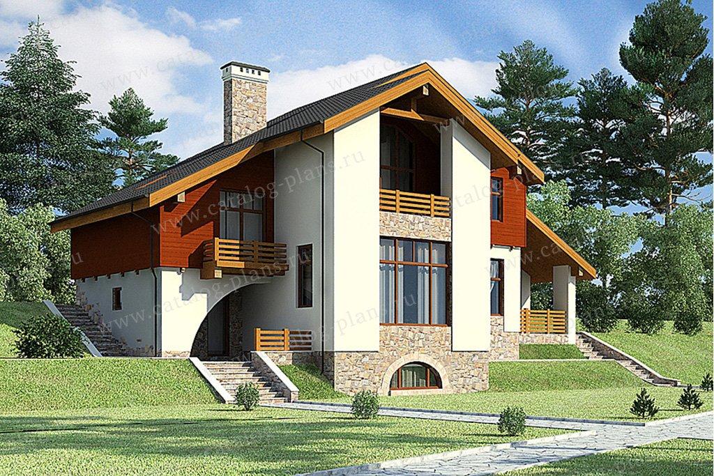 Проект жилой дом #49-66 материал - кирпич, стиль скандинавский