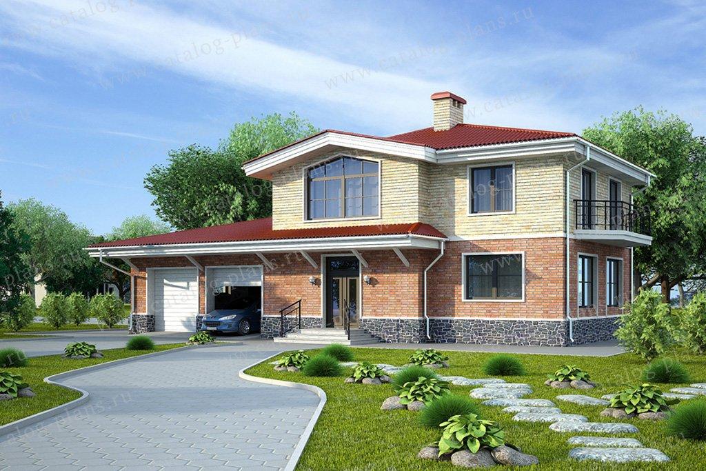 Проект жилой дом #49-73 материал - кирпич, стиль  американский