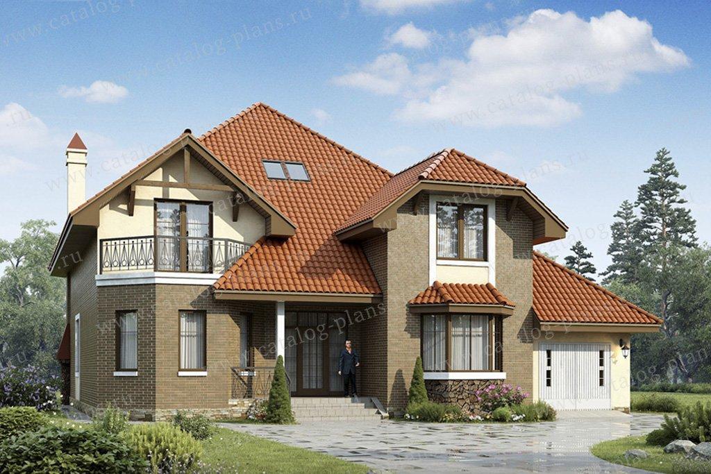 Проект жилой дом #49-46 материал - кирпич, стиль европейский
