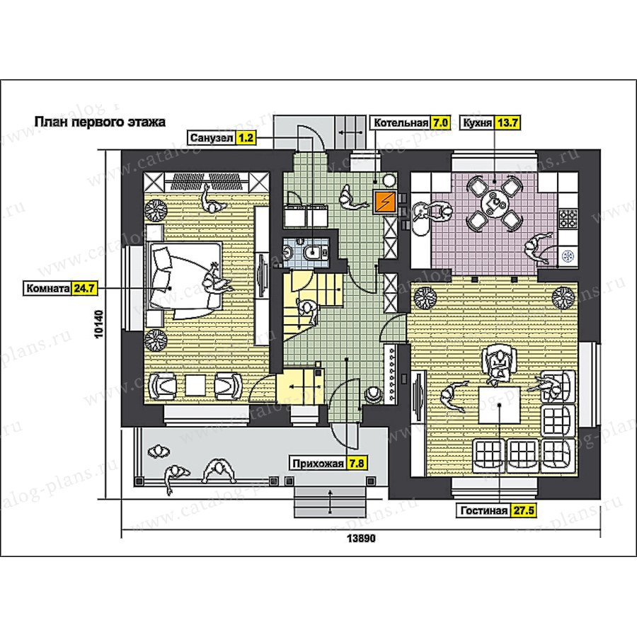План 1-этажа проекта 49-62