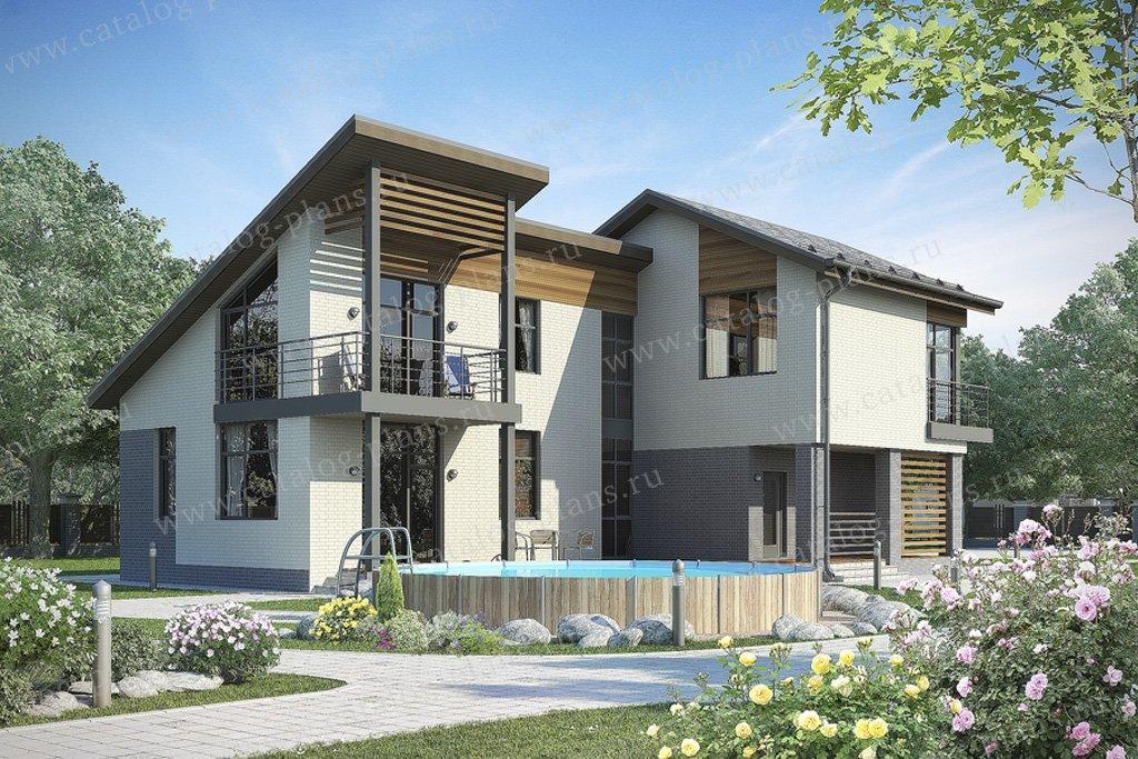 Проект жилой дом #49-64 материал - кирпич, стиль скандинавский