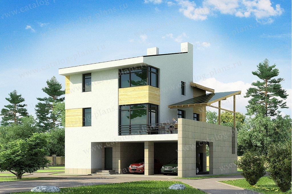 Проект жилой дом #49-98 материал - кирпич, стиль хай-тек