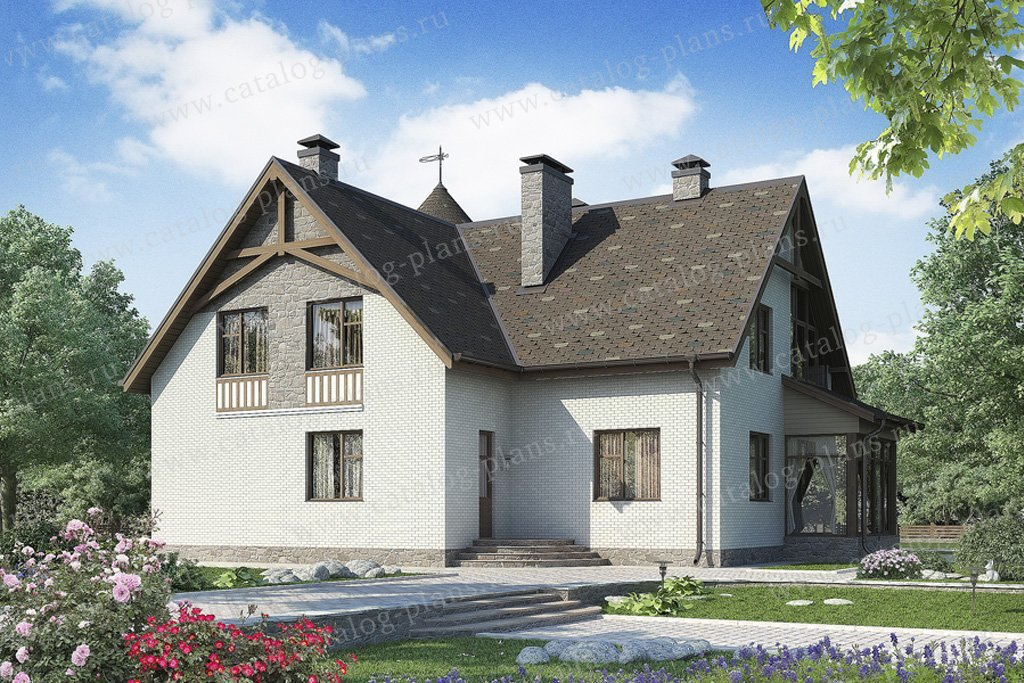 Проект жилой дом #49-86 материал - кирпич, стиль немецкий