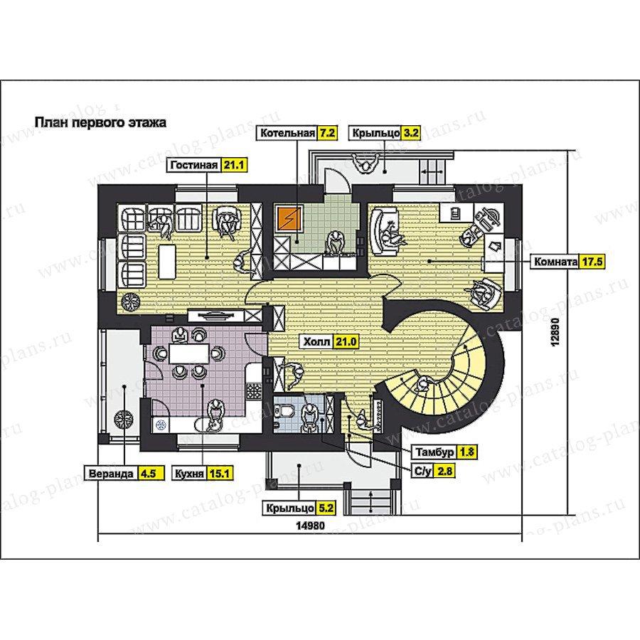 План 1-этажа проекта 49-85