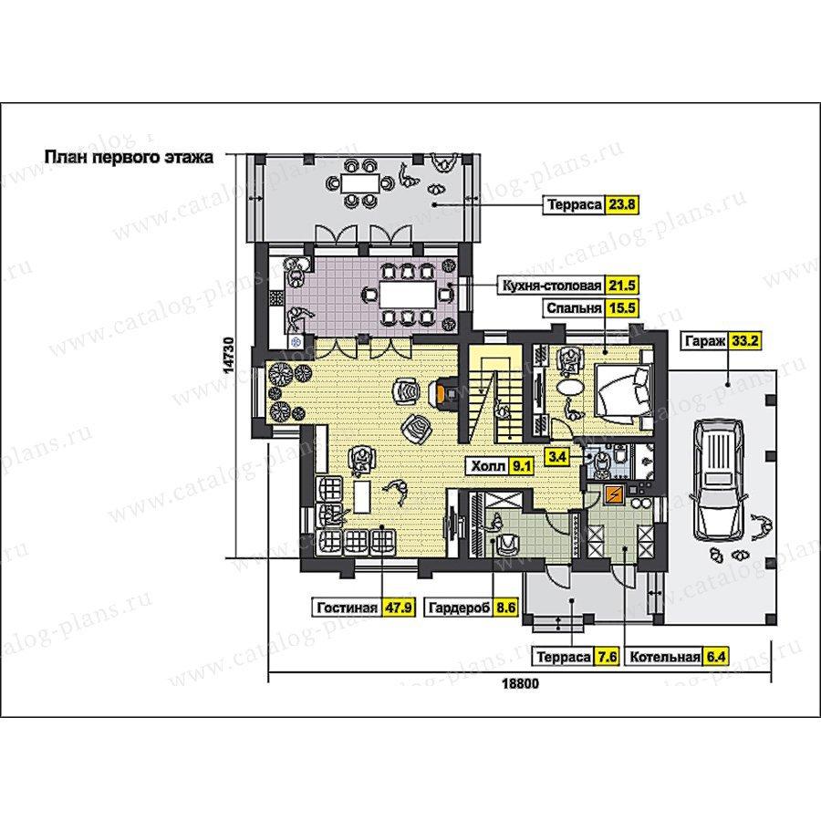 План 1-этажа проекта 49-91