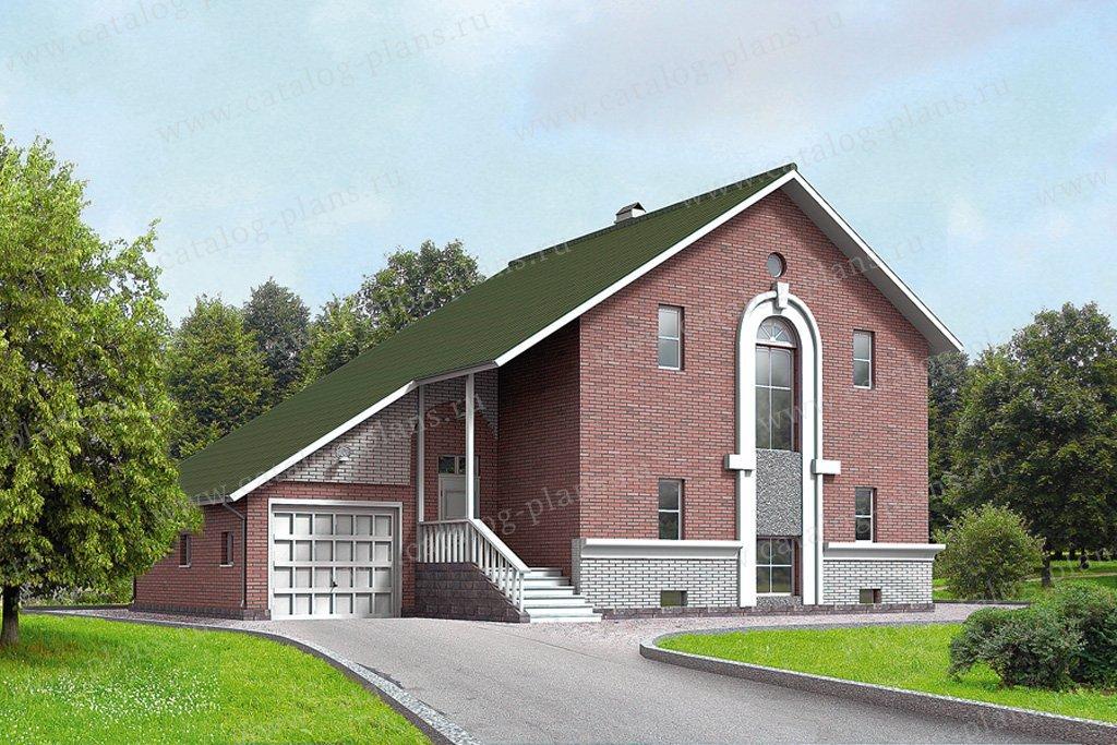 Проект жилой дом #50-09 материал - кирпич, стиль европейский