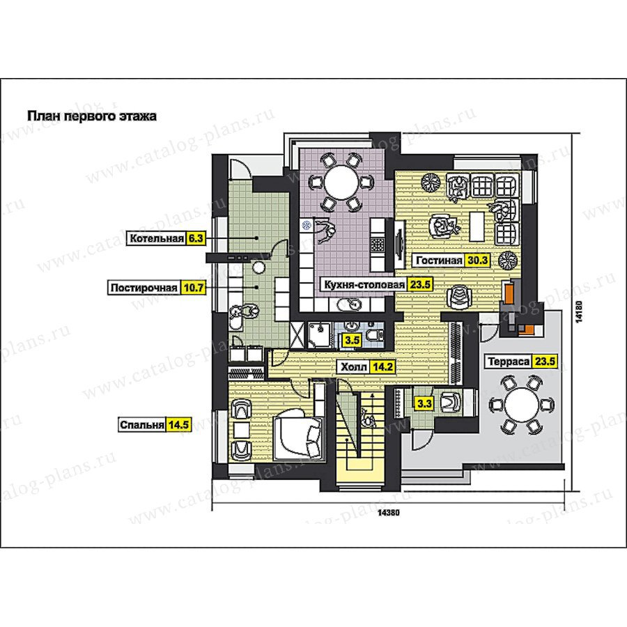 План 1-этажа проекта 49-93
