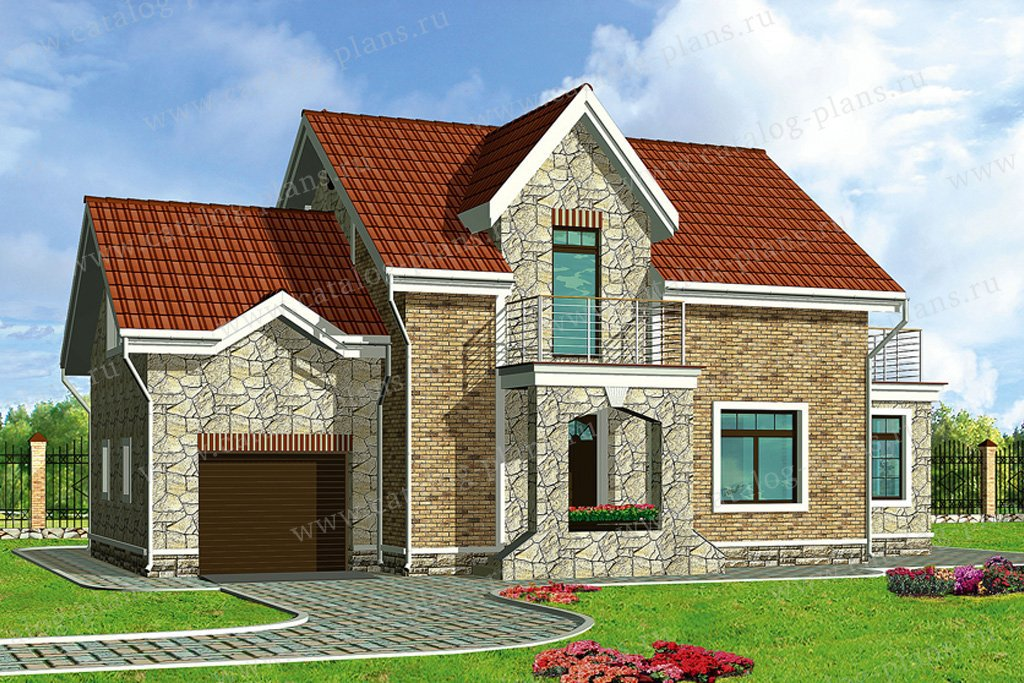 Проект жилой дом #50-20 материал - газобетон, стиль европейский
