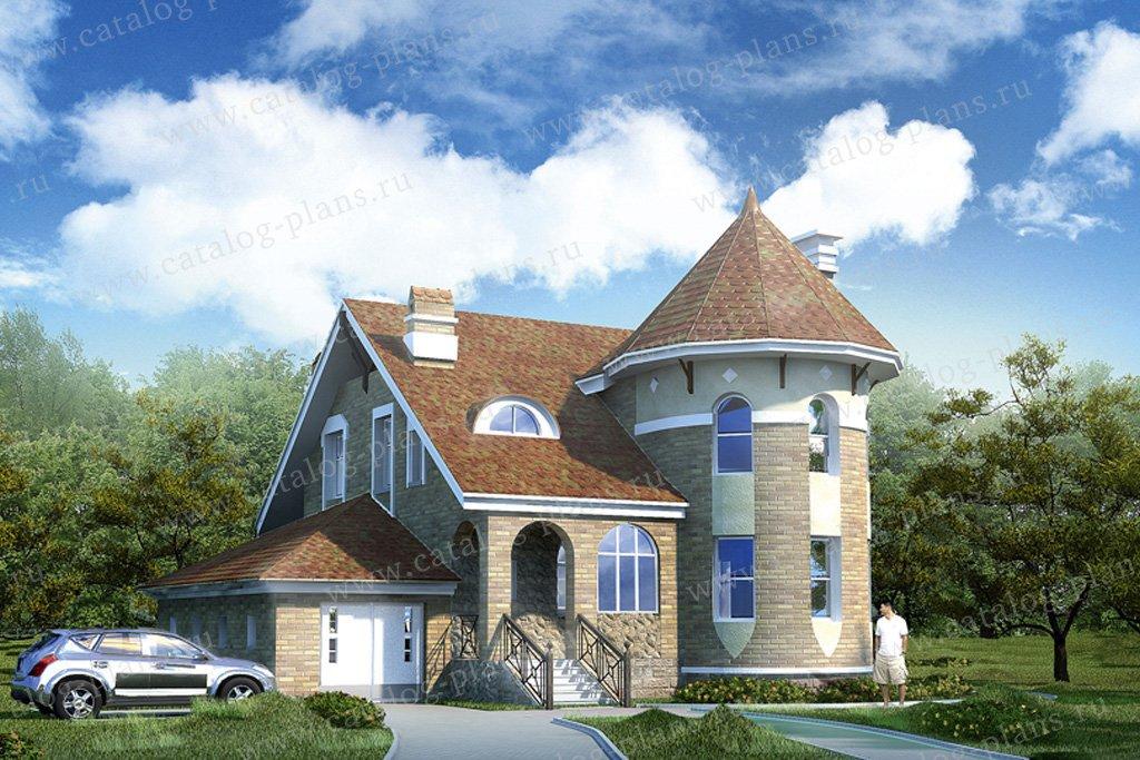 Проект жилой дом #50-71 материал - газобетон, стиль средневековый