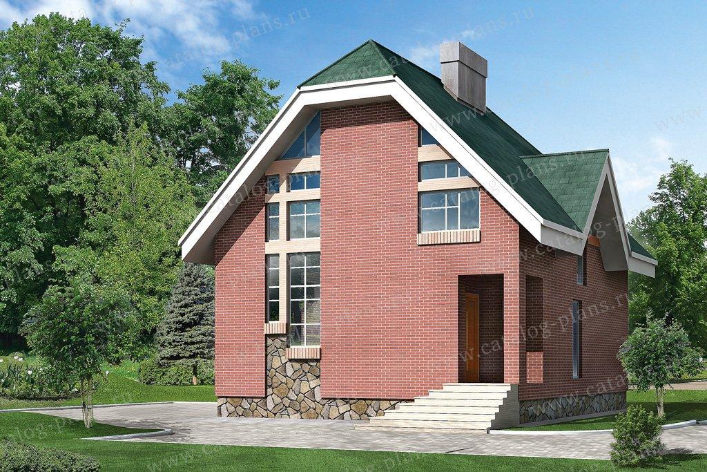 Проект жилой дом #51-04 материал - кирпич, стиль современный