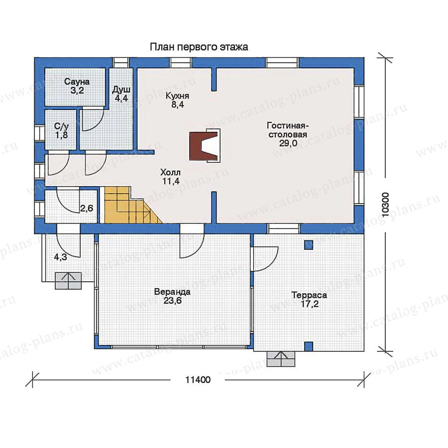План 1-этажа проекта 51-13