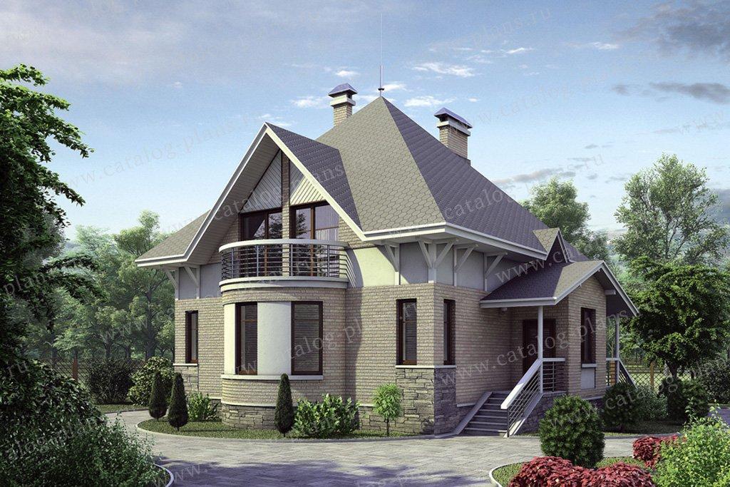 Проект двухэтажного дома из газобетона с мансардой 50-93 в е.
