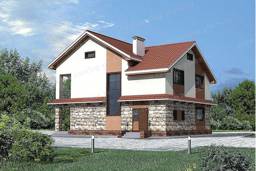 Проект жилой дом #51-00 материал - газобетон, стиль современный