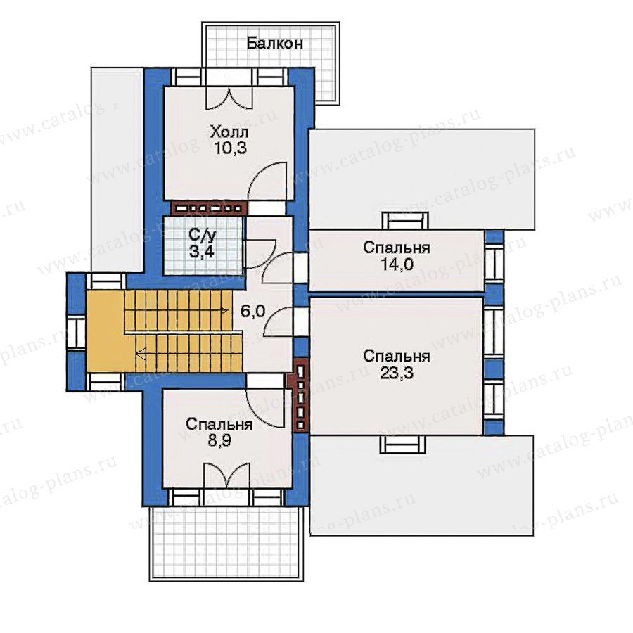 План 3-этажа проекта 50-90