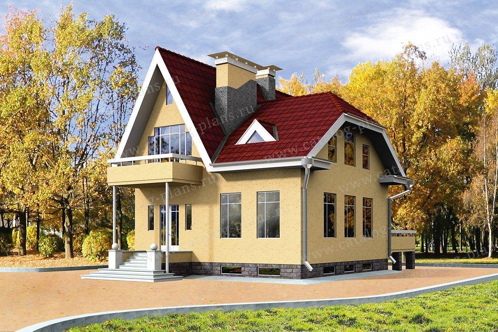 Проект жилой дом #50-90 материал - кирпич, стиль голландский
