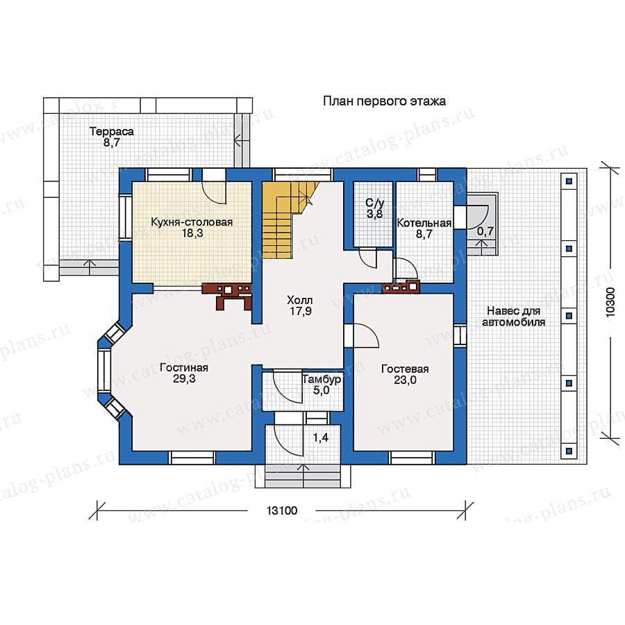 План 1-этажа проекта 51-75