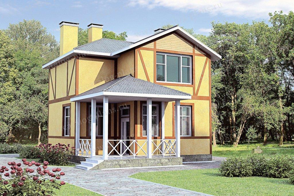 Проект жилой дом #51-50 материал - газобетон, стиль фахверк