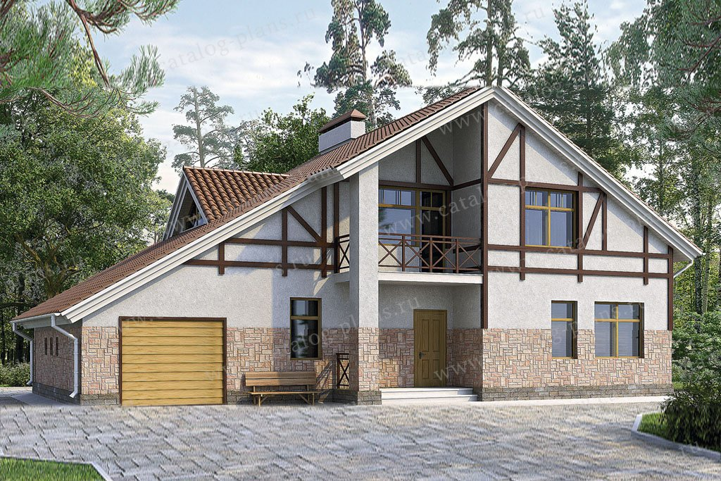 Проект жилой дом #51-81 материал - газобетон, стиль фахверк