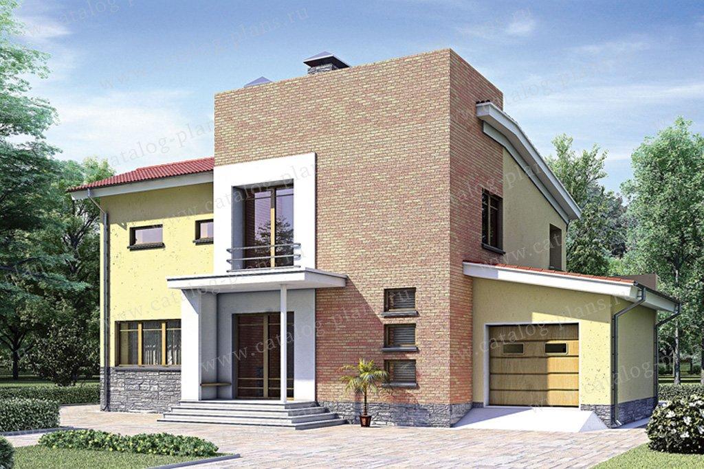 Проект жилой дом #52-26 материал - газобетон, стиль хай-тек