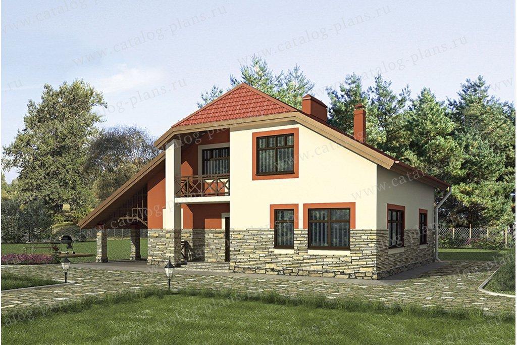 Проект жилой дом #52-49 материал - газобетон, стиль европейский