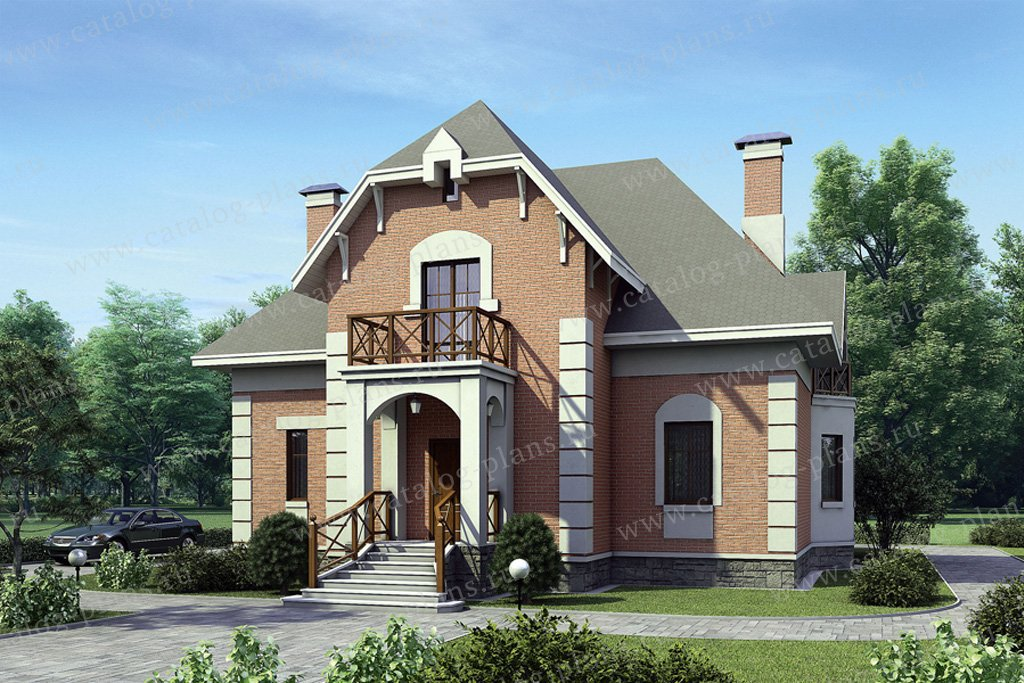 Проект жилой дом #52-64 материал - газобетон, стиль итальянский