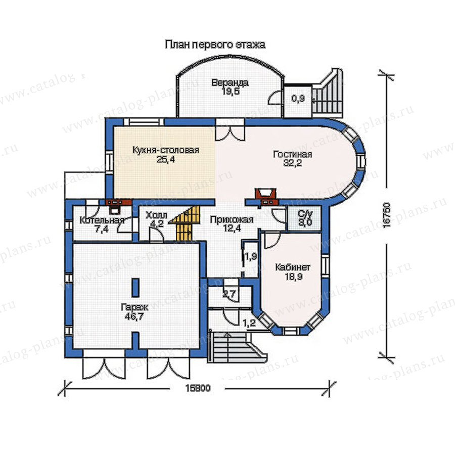 План 1-этажа проекта 52-65