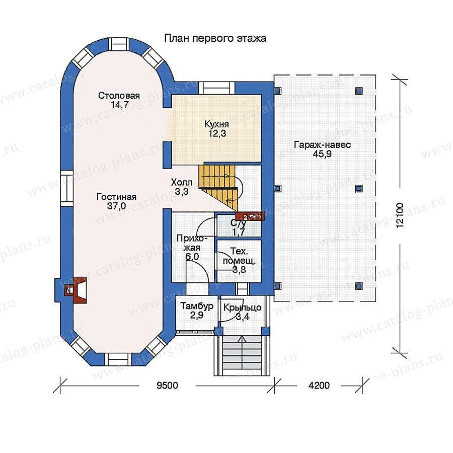 План 1-этажа проекта 52-61