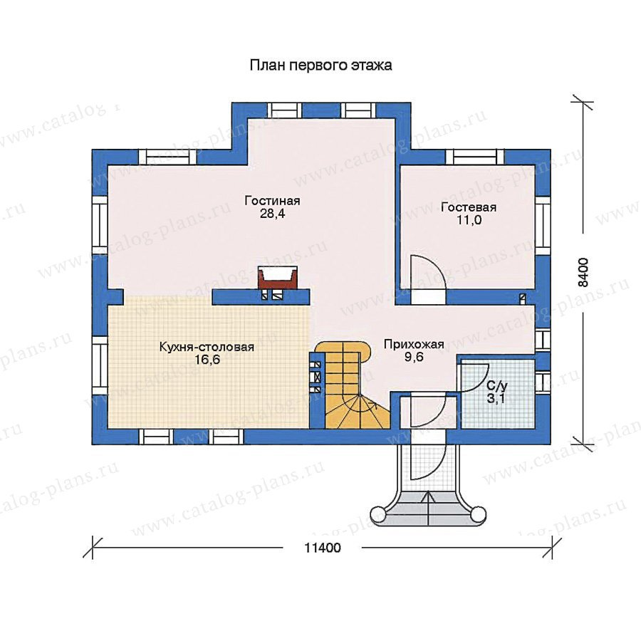 План 1-этажа проекта 52-57