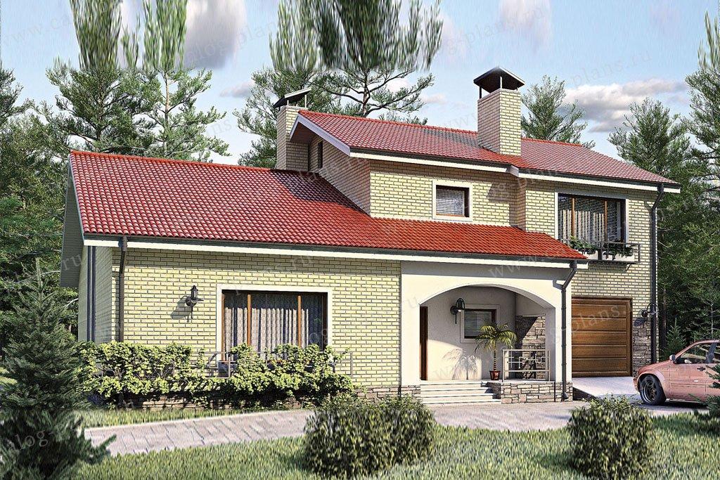 Проект жилой дом #52-91 материал - газобетон, стиль европейский