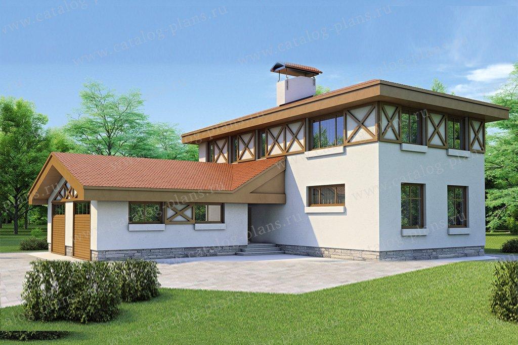 Проект жилой дом #52-95 материал - газобетон, стиль фахверк