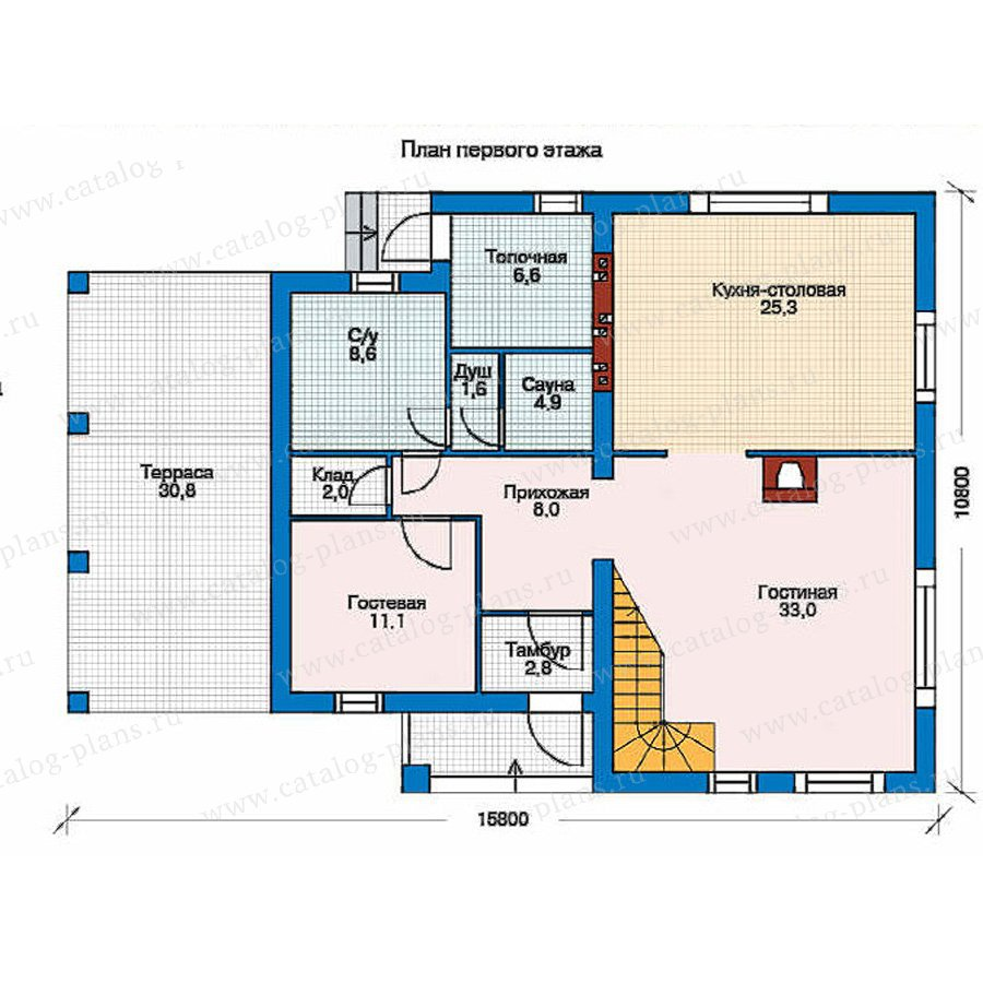 План 1-этажа проекта 52-49