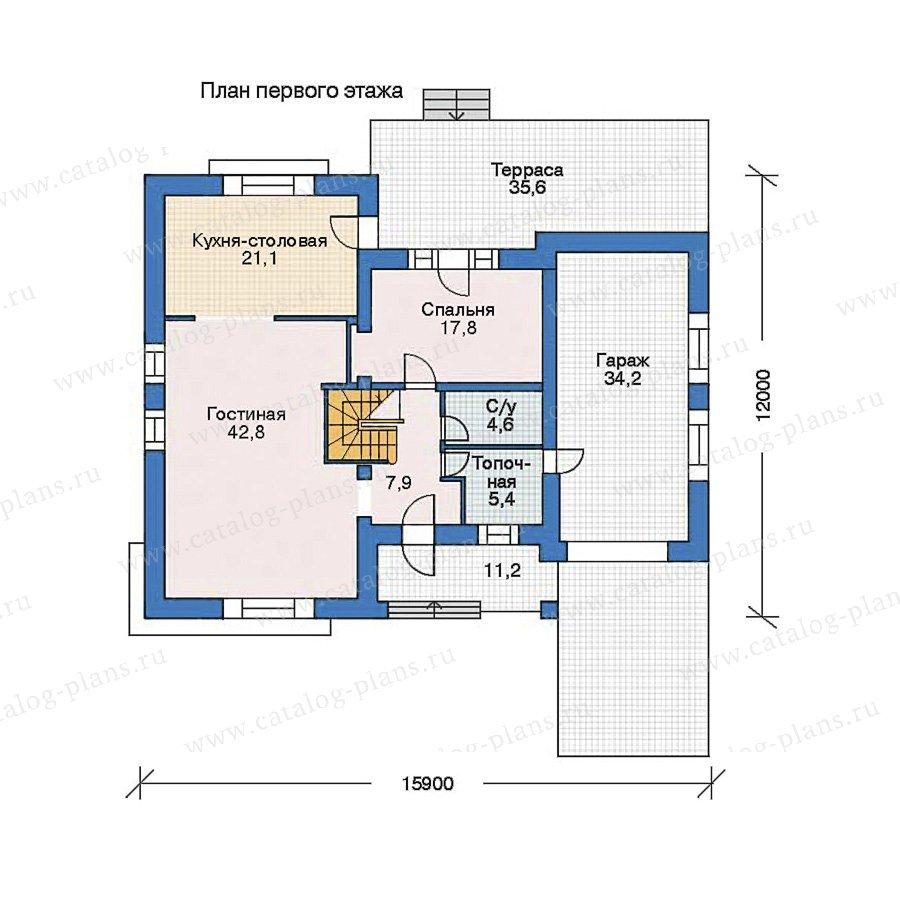 План 1-этажа проекта 52-91