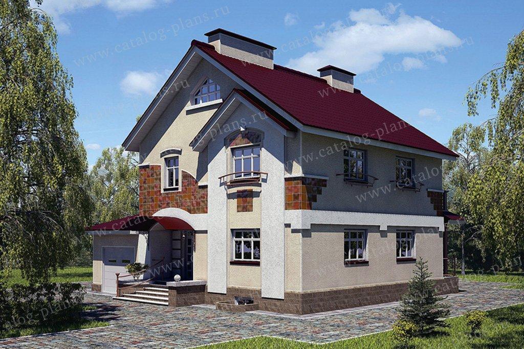 Проект жилой дом #53-73 материал - газобетон, стиль английский